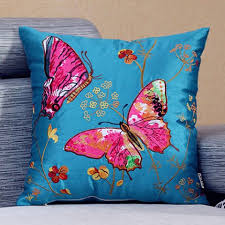Decorative Pillow Sale Colorful Butterfly Embroidered Pillow Pastoral Style Decorative