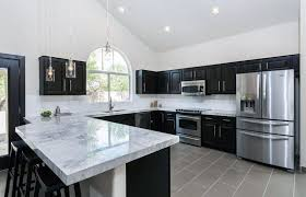 black kitchen cabinets with marble countertops 35 gorgeous kitchen peninsula ideas pictures kitchen