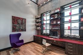 high tech office home office contemporary with red desk top red