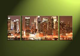 New York City Home Decor 3 Piece Brown City Huge Canvas Art