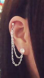 earrings with chain ear cartilage rhinestone cartilage chain earrings lobe helix ear cuff