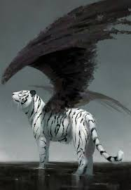 white tiger black wings strange mythical creature