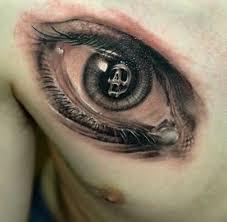 angry skull eye design on s chest