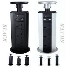 Office Desk Power Sockets Pop Pull Up Power Pod Unit Kitchen Desk Worktop Socket Extension
