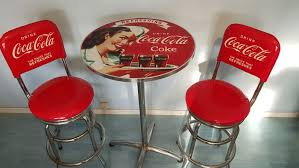 coca cola table and chairs authentic coca cola pub set of two stools with table official