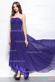 regency purple strapless curved neck high low long chiffon formal