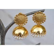 big jhumka gold earrings stud gold jhumkas