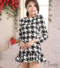 houndstooth dress dresses new fashion 2013 winter sleeve houndstooth