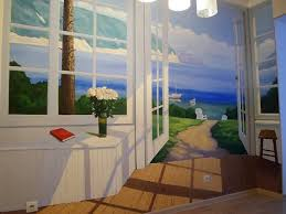 kitchen wall mural ideas 3d kitchen wall mural of open doors in a summer cottage at a seaside