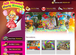 miami party rental rental website party rental web design party rental web