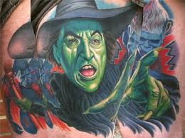 wizard of oz wicked witch portrait healed tattoos