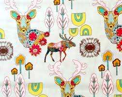 seafoam green fabric deer moose trees teal pink yellow quilter u0027s