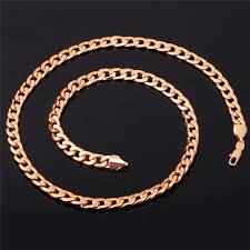rose gold link necklace images Kpop men chain necklaces gold rose gold silver black color high jpg