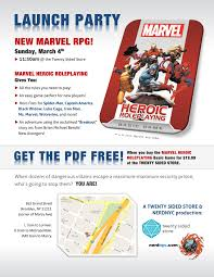 marvel launch parties cheat sheets story games