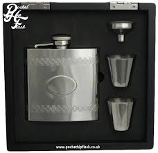 Wooden Flasks 6oz Stainless Steel Hip Flask And Cups Gift Set In Black Wooden
