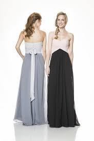empire waist long blush pink and black chiffon occasion bridesmaid
