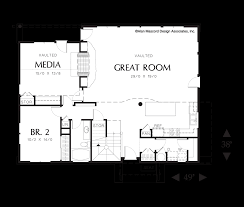 House Plans With Media Room Mascord House Plan 22117 The Redmond