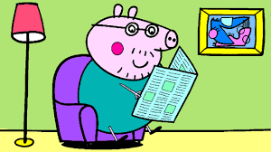 peppa pig coloring pages kids daddy pig reading newspaper