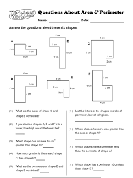 worksheet works questions about area and perimeter 1