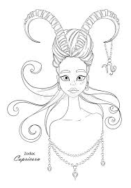 capricorn zodiac sign as a beautiful with decorative
