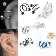 what is surgical steel earrings 5pcs surgical steel spiral barbell earring ear