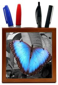 Butterfly Desk Accessories Rikki Llc Bright Blue Butterfly On Gray Background Wood