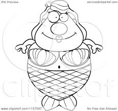cartoon clipart of a black and white plump mermaid vector