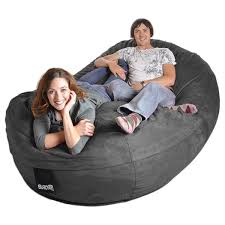 oval 8 ft charcoal grey microsuede and memory foam bean bag