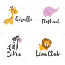 vector icon template baby animals lion zebra elephant giraffe