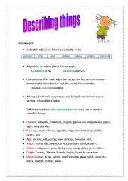 english teaching worksheets describing things