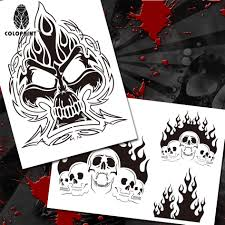 colopaint airbrush templates stencil bps 003 fire skull pile