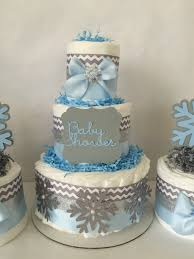 Blue Baby Shower Decorations Winter Wonderland Diaper Cake In Blue Gray And Silver Winter