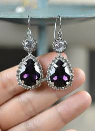 purple drop earrings bridesmaid gift jewelry purple drop earrings by thefabbridal3