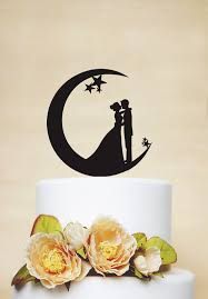 moon cake topper wedding cake topper moon and cake topper acrylic cake