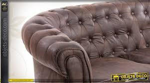 canap style chesterfield canapé marron style chesterfield 3 places en cuir synthétique