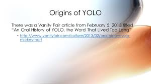 The Word Vanity Yolo You Only Live Once Ppt Video Online Download