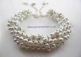chunky pearl crystal necklace images White pearls crystal cluster necklace earring set bespoke jpg