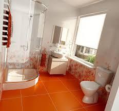 amazing modern bathroom with orange floor and beautiful wall paint