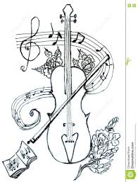 violin with notes sketch stock illustration image 72588552