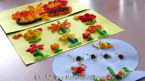 activité manuelle cuisine activité enfant avec des pâtes tableau en collage de la maternelle