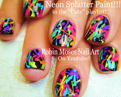 cute and fun nails diy rainbow paint splatter design easy
