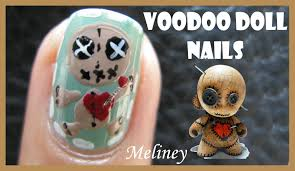 halloween nails voodoo doll nail art design free hand tutorial