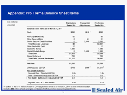 Pro Forma Balance Sheet Template Sec Filings Sealed Air
