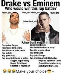 Eminem Drake Meme - drake vs eminem who would win this rap battle ent ent ent ent