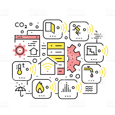 smart home devices internet of things collage stock vector art