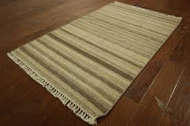 Modern Stripe Rug by New Vege Dyed Wool Kilim 3 U0027 X 5 U0027 Hand Knotted Modern Stripe