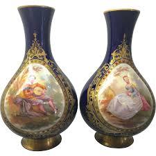 Antique Cobalt Blue Vases Pair Antique French Sevres Cobalt Blue Porcelain Vases Hand