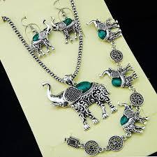 earrings necklace bracelet images 2018 elephant green turquoise necklace bracelet earrings jewelry jpg