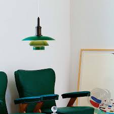 Green Pendant Lights Louis Poulsen Ph 3 1 2 3 Mid Century Modern Pendant Light