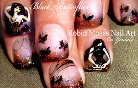 black butterfly nail art design gothic holo glitter nails